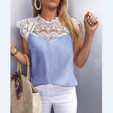 Blue Striped Lace Long-Sleeved Splicing Top