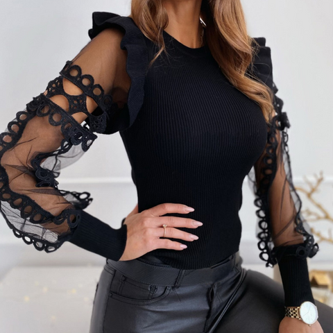 Sweet Round Neck Slim Long Sleeve Top
