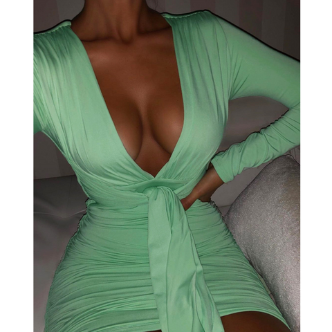 V-Neck Fashion Long-Sleeved Sexy Hip Dress