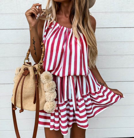 Solid Sleeveless Striped Dress