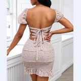 Floral Bandage Backless Frill Hem Shirring Design Dress