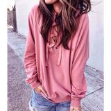 Sweet Solid Color Pink Long Sleeve Tops