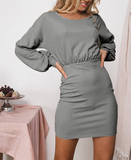 Long Sleeve Solid Color Round Neck Dress