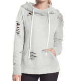 Design Long Sleeves Grey Hooded Sweater