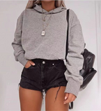 Solid Color Hooded Long Sleeve Sweater