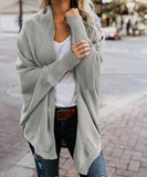 Solid Color Bat Sleeve Large Size Knit Cardigan Sweater Coat