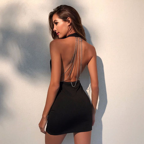Slim Sling V-Neck Backless Hip Dress