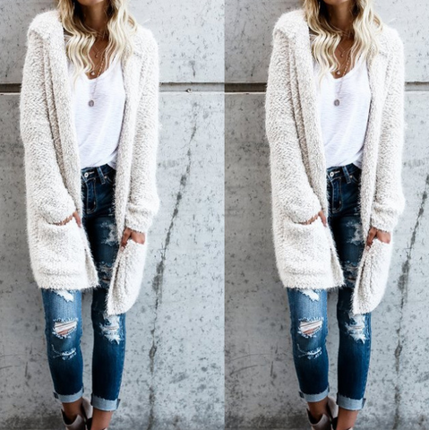 Solid Color Long Sleeve Knit Cardigan Coat