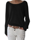 Women'S Solid Color Round Neck Long-Sleeved T-Shirt