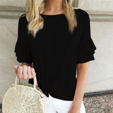 Round Neck Ruffled Short-Sleeved T-Shirt