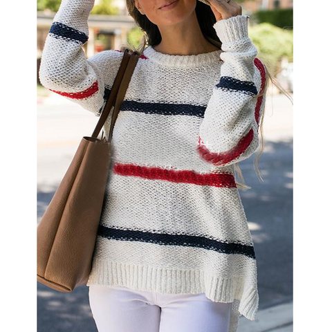 Women'S Striped Stitching Knitted Sweaters
