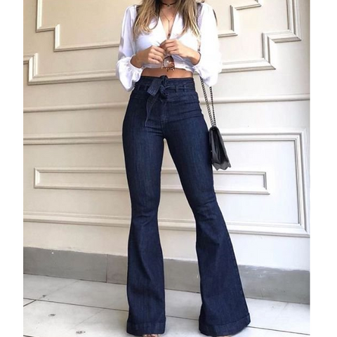 High Waist Casual Flared Jeans