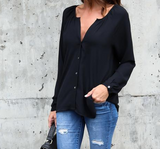 Solid Color Sexy V-Neck Long-Sleeved Chiffon Blouse