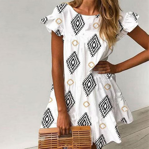 Casual Round Neck Print Women'S Lotus Leaf Sleeve Dress