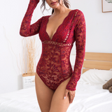 Women's Lace Deep V-neck Jumpsuit