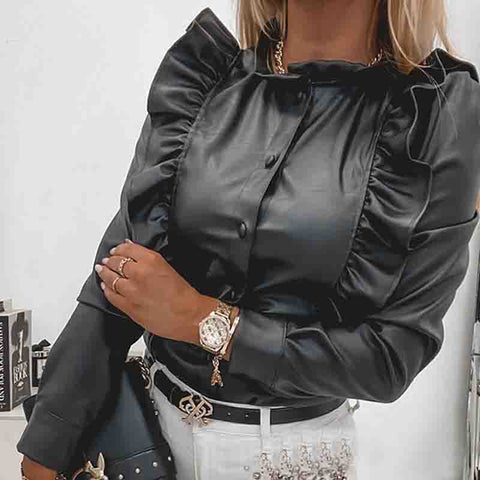 Black Faux Leather Ruffled Button Long-Sleeved Shirt