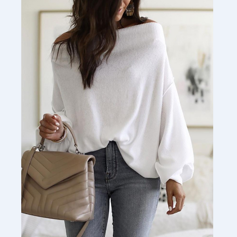 Casual Solid Color Long Sleeve Shoulder Top