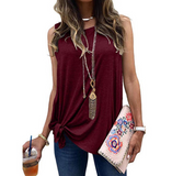 Round Neck Solid Color Casual T-Shirt Top