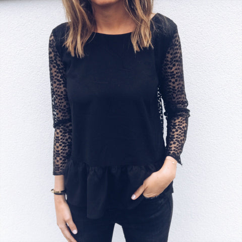 Solid Color Round Neck Lace Long Sleeve Halter T-Shirt Top