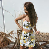 Women'S Backless Printed Sleeveless Vest Two-Piece Dress