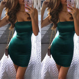 Fashion Sling Solid Color Hip Dress