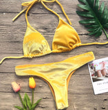 2018 Sexy Solid Color Two-Piece Bikini Swimsuit