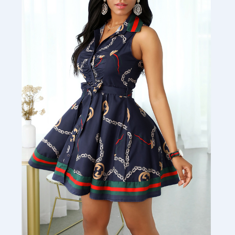 Design Sleeveless Deep V-Neck Dress