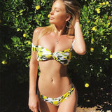 Summer Sexy Women Lemon Print With Sleeve Off Shoulder Two Piece Bikini Swimwear Bathing
