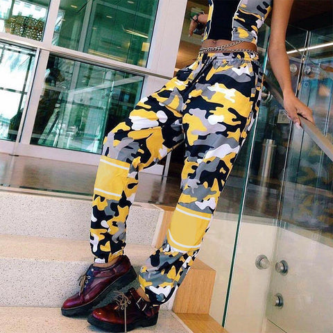 Women Casual Fashion Loose Show Thin Camouflage High Waist Leisure Pants Trousers Harlan Pants