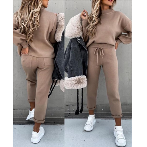Solid Color Long-Sleeved Pocket Sweater Suit