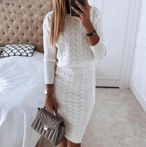 Women'S Casual Fashion Solid Color Two-Piece Dress
