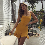 Sexy Sling Solid Color Backless Dress