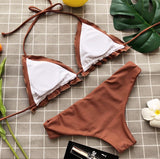 2018 Solid Color Flounced Split Bikini Swimsuit