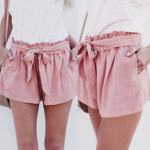 Loose Solid Color High Waist Casual Shorts