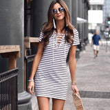 2018 Women's Stripe Short Sleeve Dress