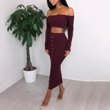 Solid Color Fashion Long Sleeve Two-Piece Dress
