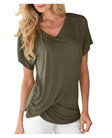 Solid Color V-Neck Short-Sleeved T-Shirt