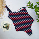 2018 Sexy Striped Solid Color One Piece Swimwear