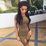 Women'S Fashion Round Neck Solid Color Hip Dress