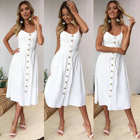 2018 Sexy Solid Color Sling Dress