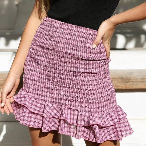 Women's Striped Ruffle Skirt