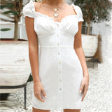 Women'S Solid Color Casual White Short-Sleeved Dress
