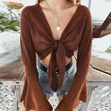 Slim Solid Color V-Neck Long-Sleeved T-Shirt