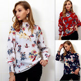 Women'S Long Sleeve Printing High-Necked Chiffon Shirt