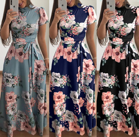 Women'S Casual Printing Short Sleeve Dress