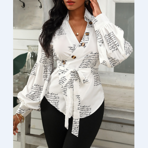 Casual Letter Print White Long Sleeve T-Shirt Top