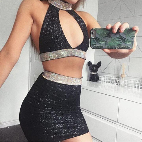 Fashion Low Cut Backless Two-piece Set