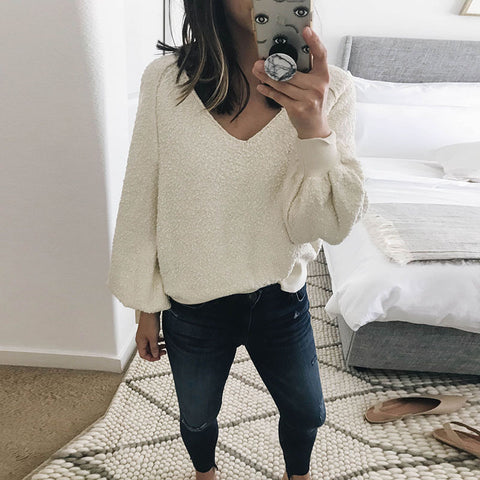 Solid Color Fashion Round Neck Long Sleeve Sweater