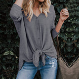 Fashion Button V-Neck Long Sleeve Sweater