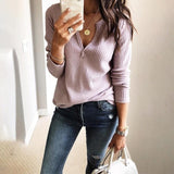 Women'S Loose V-Neck Knitted Long-Sleeved Top